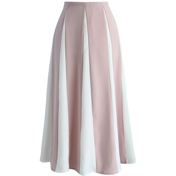 Chicwish Cherished Memory A-line Skirt in Pink Stripes ($45) ❤ liked on Polyvore featuring skirts, pink, colorblock skirts, pink a line skirt, a line flared skirt, dressy skirts and pink knee length skirt