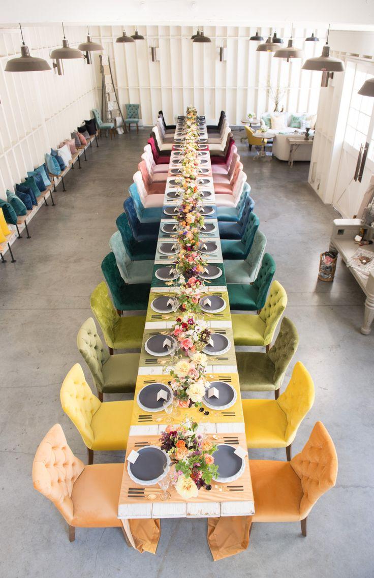 La Tavola Fine Linen Rental: Assorted Velvet Table Runners | Photography: Studio EMP, Florals: Louloudi Floral Design, Tabletop Decor: Casa de Perrin, Chairs: Found Vintage Rentals https://emfurn.com/collections/mid-century-modern