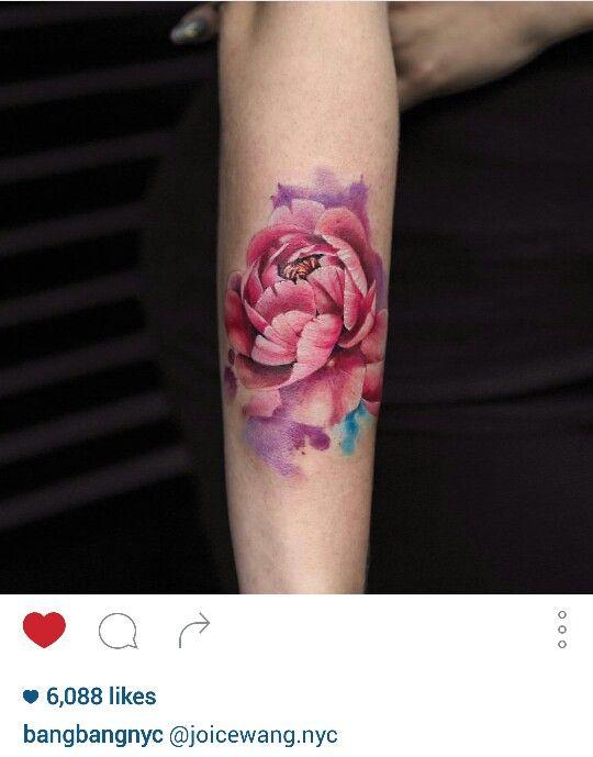 Pink peony flower tattoo by @joycewang.nyc