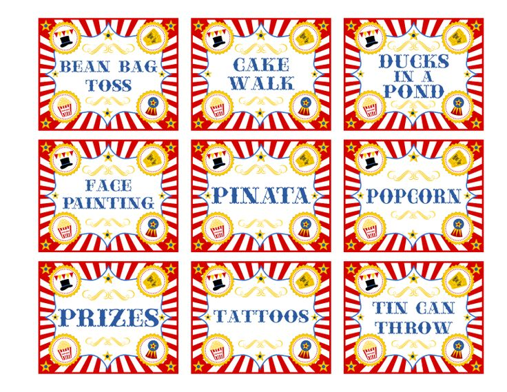 "Free Printable Carnival Signs | Ten 24"" x 18"" Circus Party Activity Signs (Emailed PDFs) $5 (Contact ..."