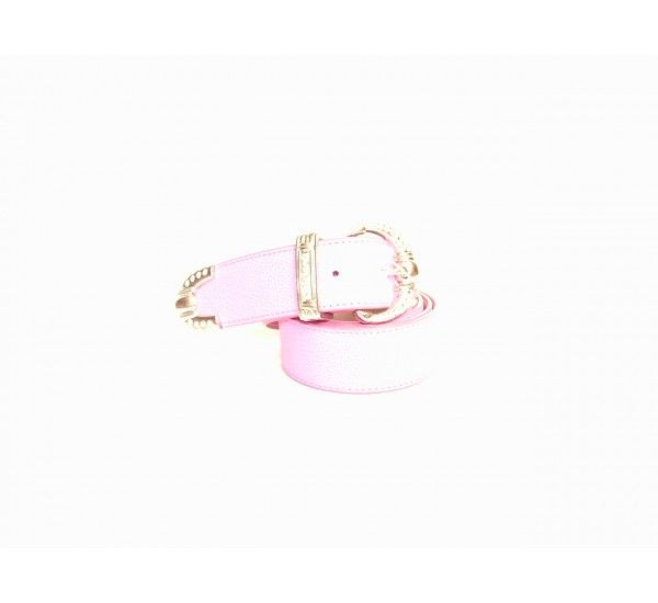 """Brambilla pink leather belt with a silver buckle covered in crystal stones. Size 90"""" W 1.5"""" £110"""