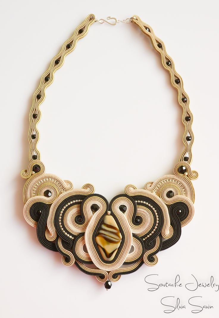 Shades of Beige and Black handmade soutache necklace