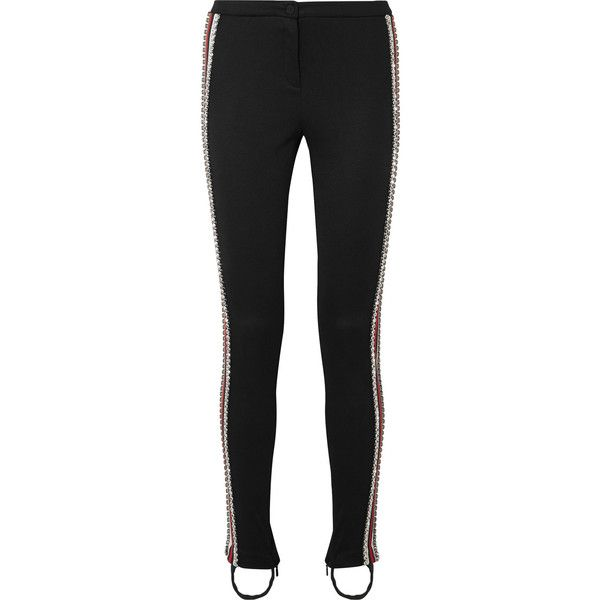 Gucci Crystal-embellished striped tech-jersey stirrup leggings ($2,200) ❤ liked on Polyvore featuring pants, leggings, black, sparkly leggings, stirrup trousers, striped leggings, gucci and legging pants