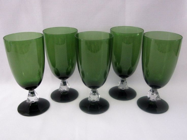 Aquarius by Bryce Crystal Cut Stem Green Goblets Vintage
