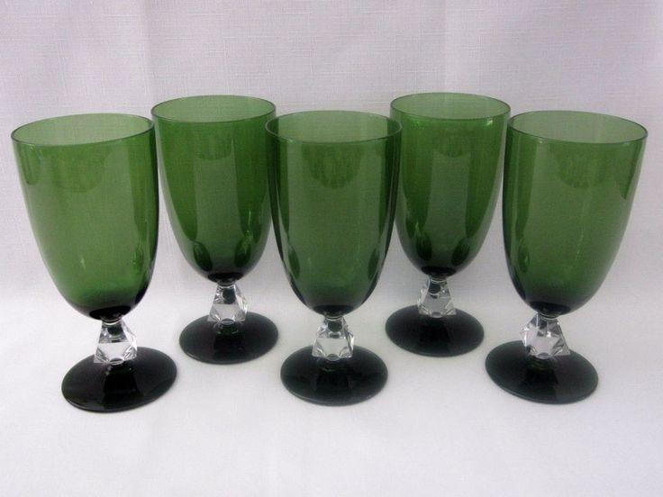 Aquarius by Bryce Crystal Cut Stem Green Goblets Vintage