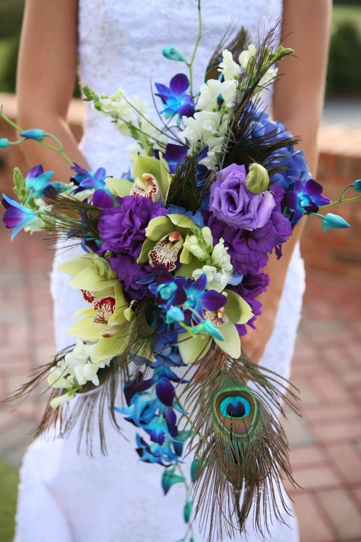Bridal Bouquets with Peacock Feathers | ... feathers. Having a peacock wedding bouquets means using a lot of teals