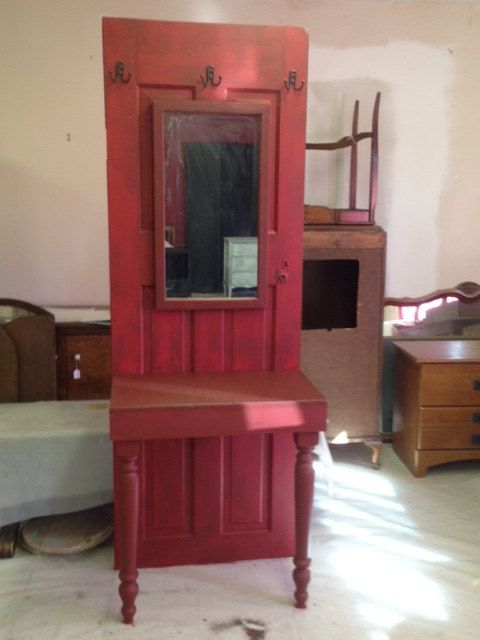 Custom Made Entry Piece Vintage Door with Table Hand Painted