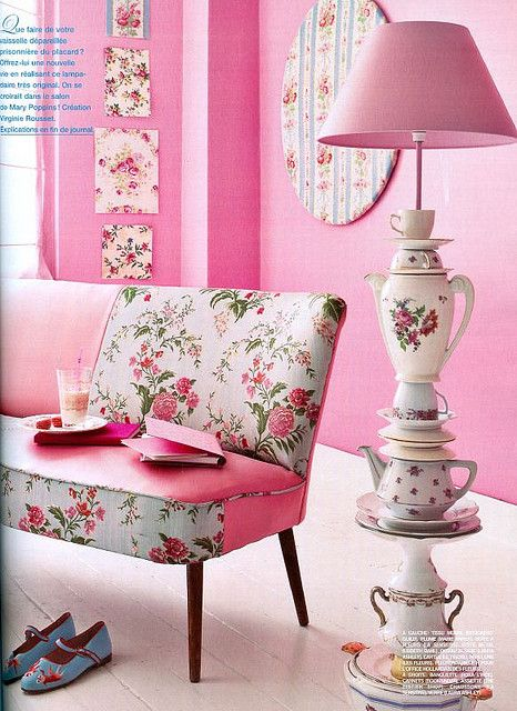 Whoa too much pink...and..uh, roses.  Lamp is cool though, very Alice in Wonderland :upcycled tea pots