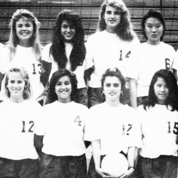 We dug up this old high school yearbook photo of Eva Mendes when she played volleyball back in the day. Can you spot her?
