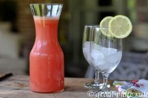 Watermelon Lemonade and Popsicles  Ingredients from greenplaterule.com    2 lemons, peel removed  5 cups of watermelon  1 tbsp of honey or agave    Instructions    Juice the lemons and watermelon  Add sweetener, if desired, and mix well  Drink immediately, freeze any leftovers