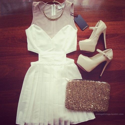 White dress, platform heels, glitter clutch
