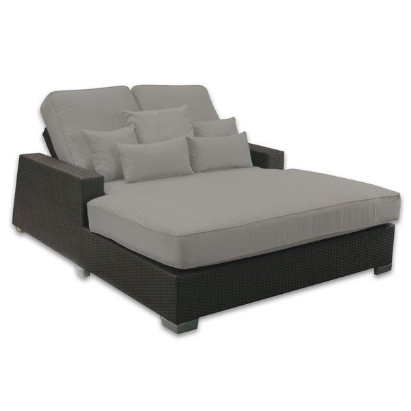 Signature Double Chaise Lounge With Cushion Modern Outdoor Chaise Lounges Patio Chaise Lounge