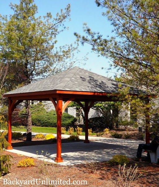 16'x16' Wood Traditional Pavilion with Cedar Stain http://www.backyardunlimited.com/pavilions