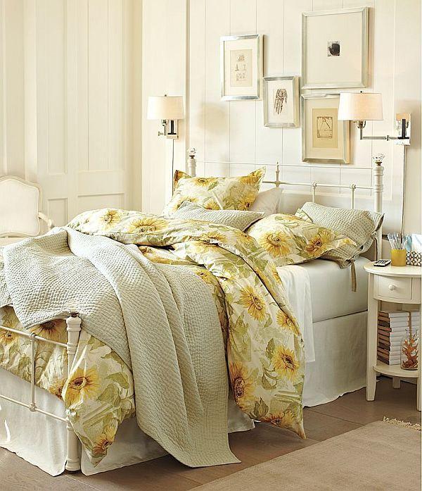 sunflower bedroom decor | Energizing Sunflower Organic Duvet Cover and Sham