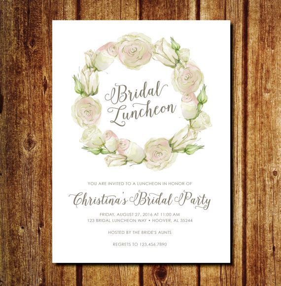 Floral Bridal Luncheon Invitation by lilypadboutiquestore on Etsy