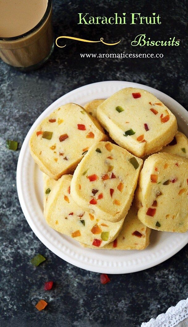 Fruit Biscuits ( Hyderabad Karachi Bakery Style)/ Egg-free tutti frutti cookies