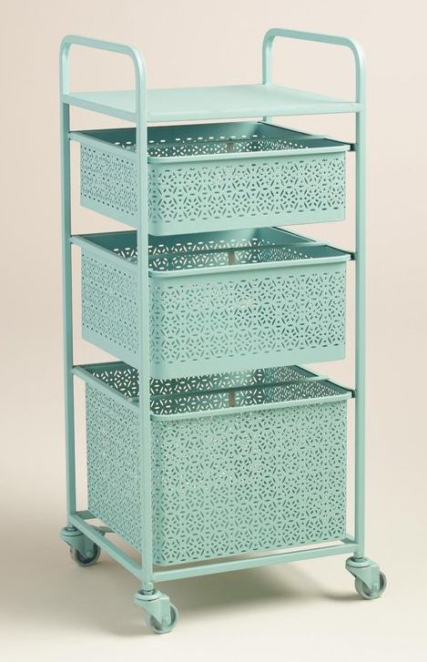 Lend a fresh look to the powder room or master bath with this Aqua Blue Metal 3 Drawer Mia Rolling Cart, crafted of punched metal in a filigree design and fitted with castors that swivel and lock. $17