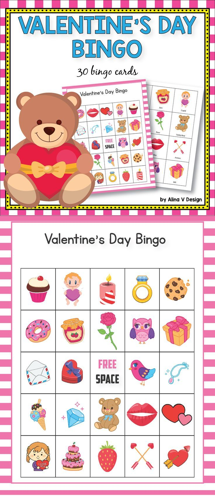 Valentine's Day Bingo Game - Valentine's Day activity for preschool,  kindergarten and  first grade kids. Teach your students more about  Valentine's using these fun printable games suited for large groups of students.   #valentinesday #bingo #activities #kindergarten #fun #cards #classroom #ideas