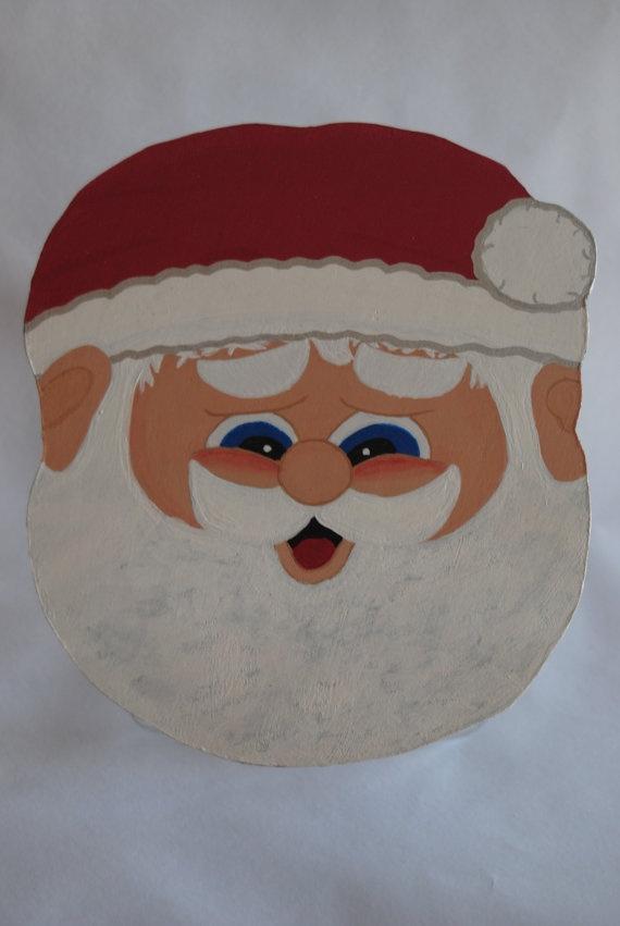 Santa Cookie Jar Lid Christmas Decoration Hand by MTDesignsCrafts, $20.00