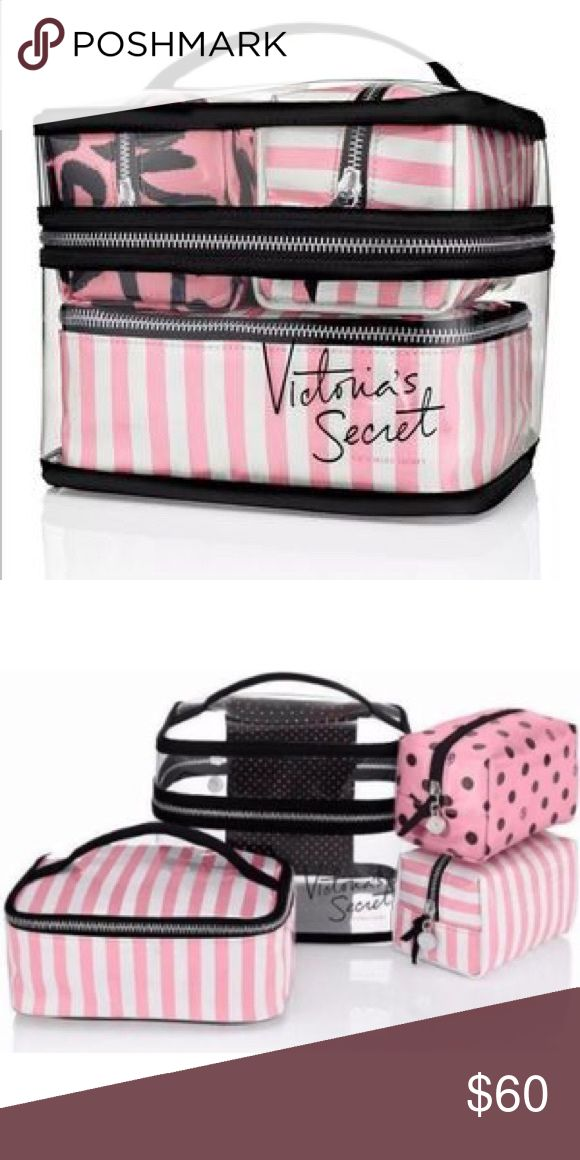 VS Signature Stripe 4Piece WaterProof Train Case Victoria's Secret Train Case!                                  Four Bags.                                                                VS Signature Stripe Makeup Bags.                         💄Great for TRAVEL or to ORGANIZE your Makeup 💄                                                                New with Tags! Victoria's Secret Bags Cosmetic Bags & Cases
