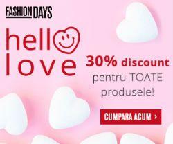 Pe FashionDays.ro ai preturi mai mici cu 30% in baza cuponului de reducere. Alege orice produs din magazinul online si bucura-te de discount si livrare gratuita!