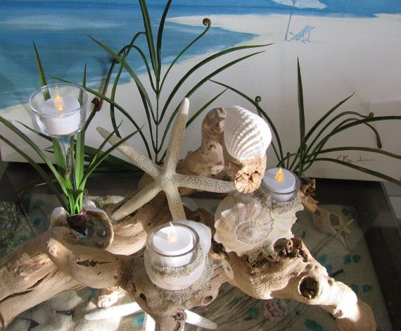 Driftwood ghostwood candle holder centerpiece w beach