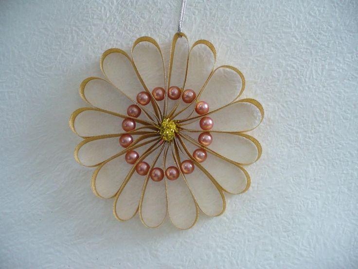 ribbon christmas ornaments | DIY Christmas Tree Ornament - Beautiful Beaded Ribbon Flower