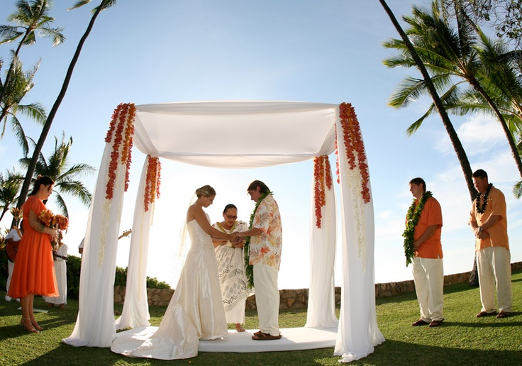 #Ceremony aisle decor #Chrissy Lambert  Picture lime green orchids from the corners and a thick white rope tied in a nautical knot 2/3 down the poles in the front