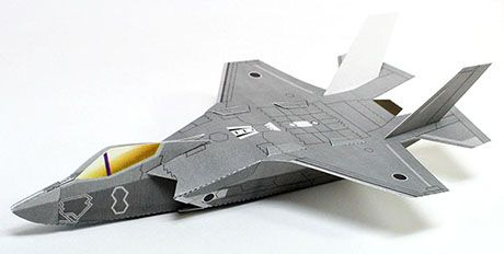 The Lockheed Martin F-35 Lightning II is a family of single-seat, single-engine, all-weather stealth multirole fighters. The fifth-generation combat aircraft is designed to perform ground attack and air defense missions. Paper Toy from Paper Model Workshop Japan.