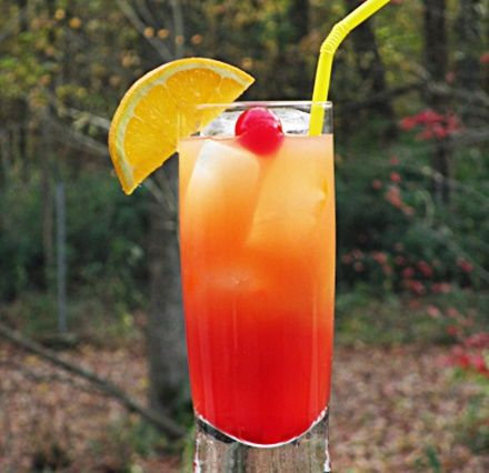 Italian Sunset. A light cocktail that is easy to make and a little light on the alcohol:) . Amaretto, orange juice, tonic water, & Grenadine. Cheers!