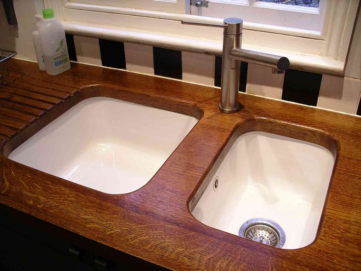 Dark Brown Double Sinks With Dark Wood Kitchen