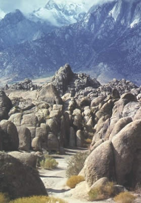 Alabama Hills - Inyo County, Owens Valley, nearest town is Lone Pine. Strange geology, used in many old movies. Close to the Mt Whitney portal.