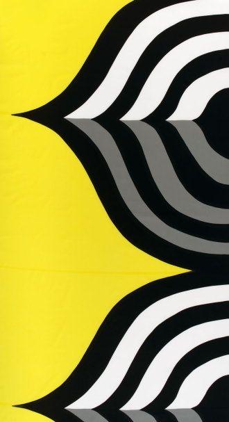 Marimekko: Keisarinkruunu (Maija Isola) cotton #fabric #pattern: Geometric Graphic Patterns, 2D Patterns, Fabric Patterns, Maija Island, Fabrics, Marimekko Patterns, Design, Motif