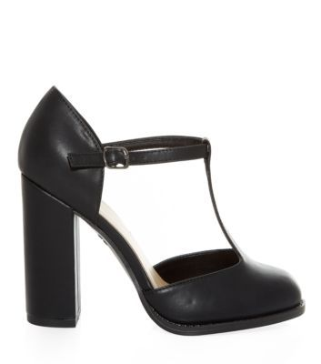 Wide Fit Black T-Bar Block Heels