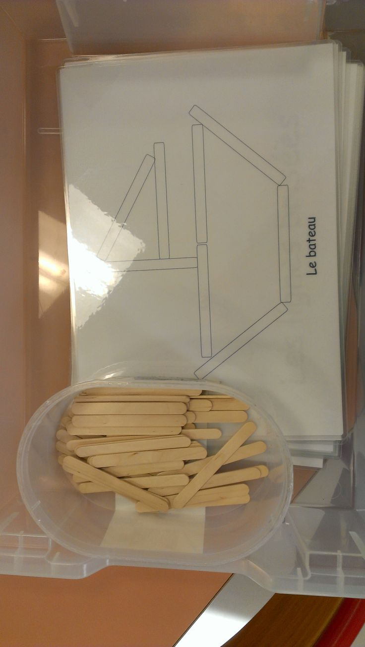 Reproduce shape images with Popsicle sticks. Great visual spatial, fine motor, visual perception skills