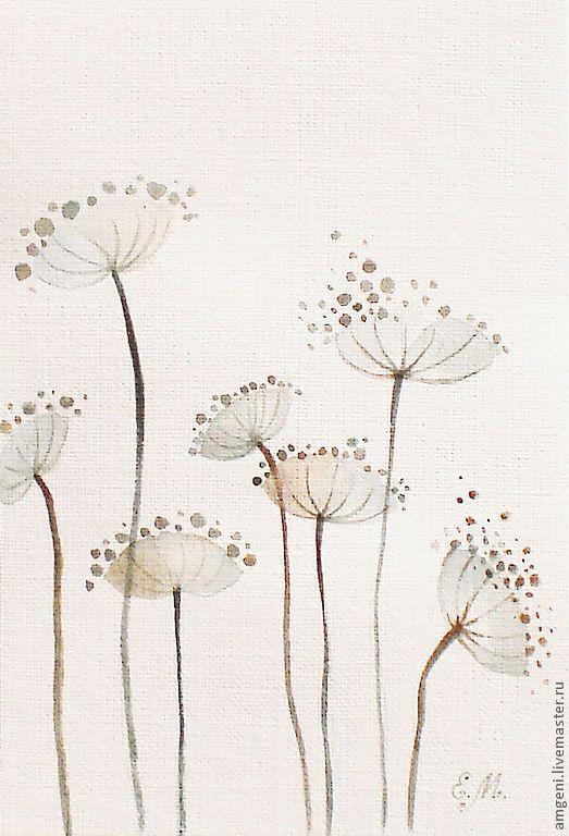 """Купить Акварели """"Садовые"""" - коричневый, акварель, растения, листья, декор стен, картина, акварельные краски"""