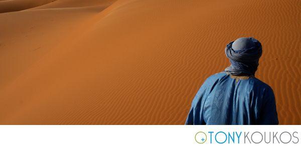 arabic, blue, desert, dune, man, orange, red, ripples, sahara, sand, shadow, Morocco, Tony Koukos, Koukos