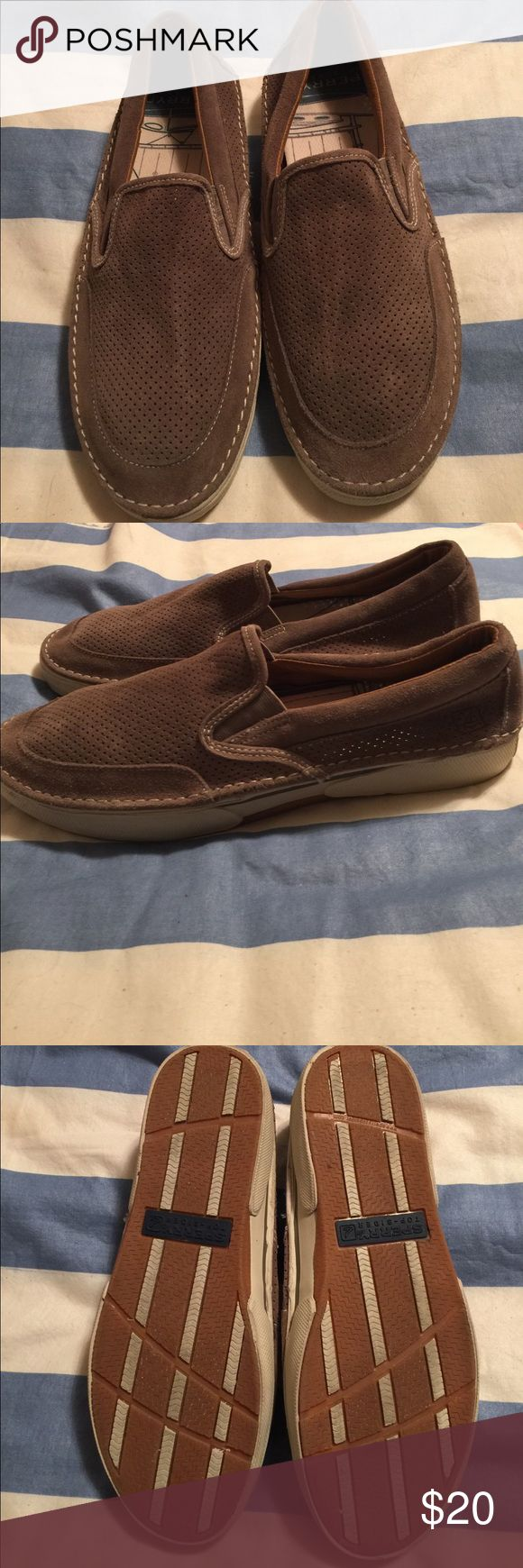 👞SALE👞Sperry Topsider shoes Size 12 Mens Tan Sperrys. Worn once and in closet for a while. Has one flaw and picture is included ( small separation of side of sole to cloth. It does not go all the way and make a hole) Sperry Shoes Loafers & Slip-Ons