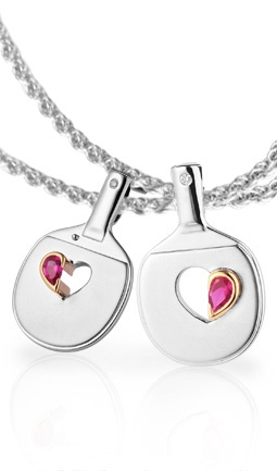 Partners Interlocking Pendant - as worn by Britain's top (and soon to be married) Table Tennis couple, Paul Drinkhall and Joanna Parker #tabletennis #pingpong #jewelry