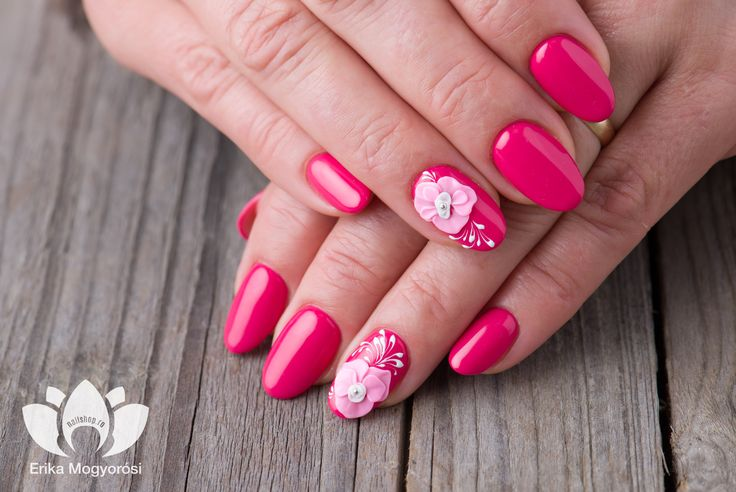 #lovely #fucsia #nails #pink #flower #nailshop.ro