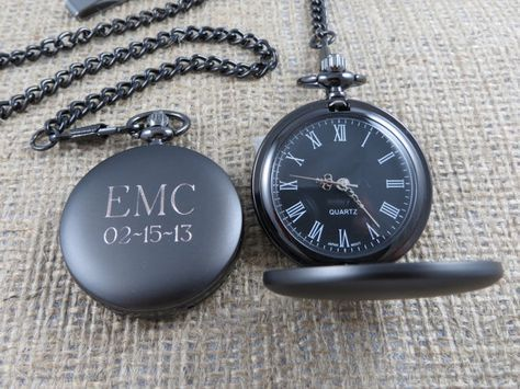 Personalized Pocket Watch - Monogrammed - Gifts for Men - Groomsmen Gifts - Best man (775) on Etsy, $32.99