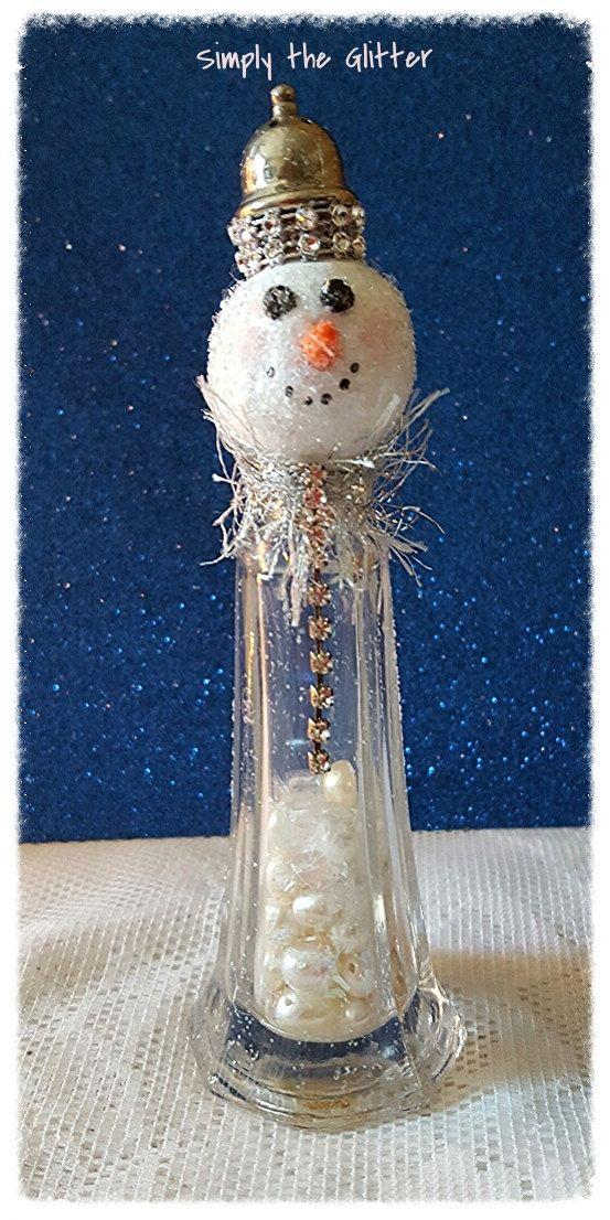 "Snowman Assemblage, Vintage Salt Shaker Snowman ""Florence"", Glass Shaker, Glitter Snowman Decoration, Christmas Collectible, Original by SimplyTheGlitter on Etsy"