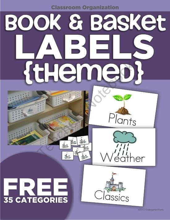 Free Themed Book Labels and Book Basket Labels created by KindergartenWorks