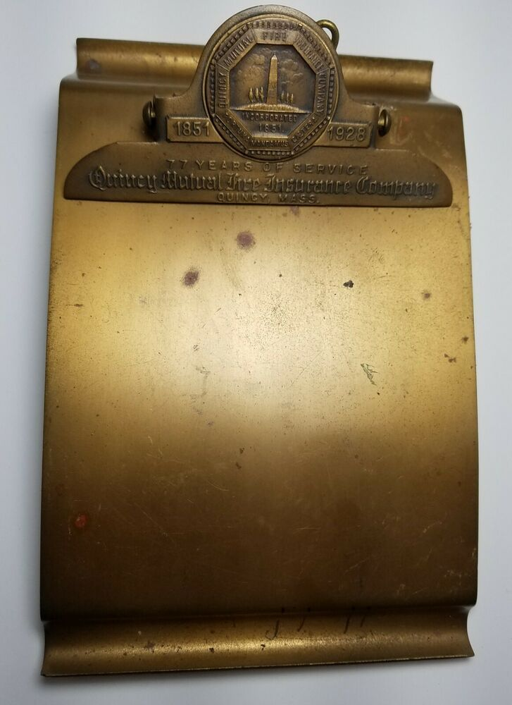 1928 Quincy Mutual Fire Insurance Company Brass Notepad Holder