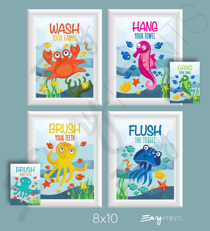 Ocean Bathroom Wall Art-Set of 4. Nautical Kids Bathroom Artwork. Bathroom Wall Art. Under the Sea Ocean Fish Bathroom Art Prints. Hang your Towel Seahorse-Hot Pink or Green Wash your Hands Crab-Orange Flush the Toilet Squid-Blue Brush your Teeth Octopus-Teal or Yellow  NOTES: This listing is for non-custimizable 8x10s. If you would like to change any colors or customize in any way please click the listing link below. https://www.etsy.com/listing/198329932  •Includes 4 8x1...