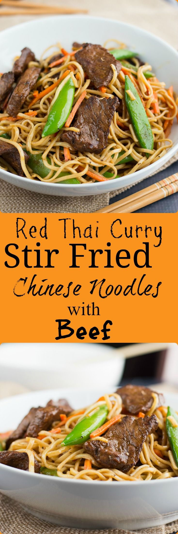 These Red Thai Curry Stir Fried Noodles with Beef has a tasty spicy red curry sauce and beef marinade that brings your stir fry to life!