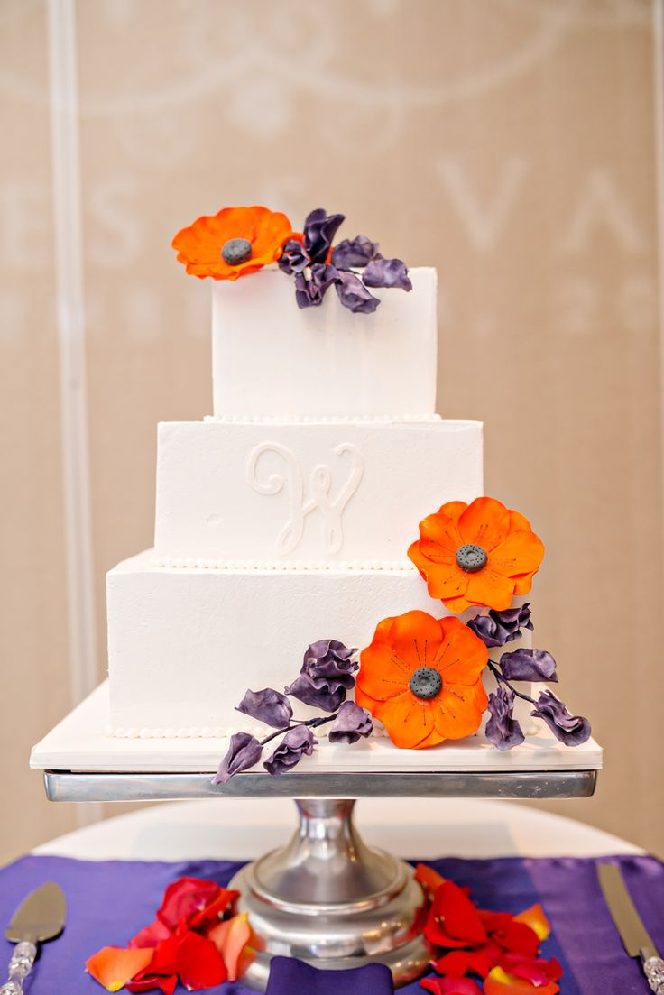 Colorful orange and purple wedding cake (Just a Dream Photography)