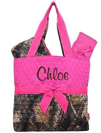 Diaper Bag Personalized Mossy Oak Camouflage Camo Pink Quilted Set 3 pc