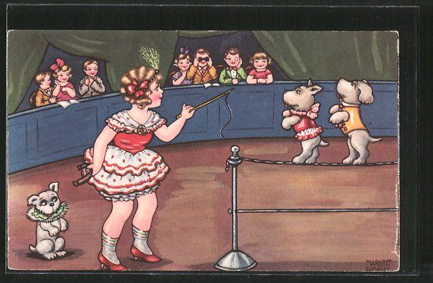 Künstler-AK Margret Boriss: Hundedressur im Zirkuszelt 0