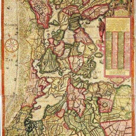 De 'Caerte van Noorthollant' uit 1608 vertelt het verhaal van de Nederlandse Opstand en de strijd tegen het water. De oorspronkelijke kaart werd in 1575 in opdracht van de Spaanse Koning Filips II vervaardigd door cartograaf en landmeter Joost Jansz.